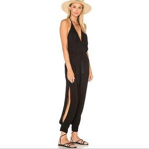 Indah Paz Halter Tassel Jumpsuit Black Backless XS